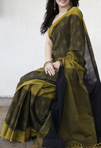 OLIVE DOTS & STRIPES COTTON SAREE
