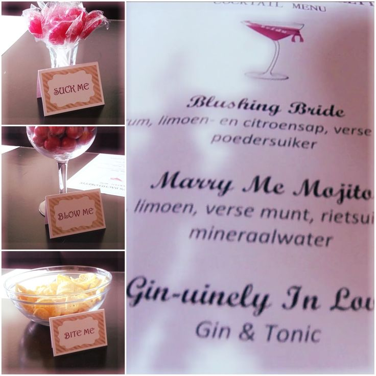 Bachelorette party cocktail menu and snacks. Suck me lollipops, blow me bubble gum, bite me heartbreaker chips, pink. Cocktails: Blushing Bride, Marry Me Mojito, Gin-uinely in Love, Love Me Long Time (virgin cocktail)