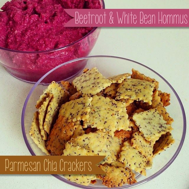 A Little Bit Of Homemade Heaven: Parmesan Chia Crackers and Beetroot & White Bean Hommus
