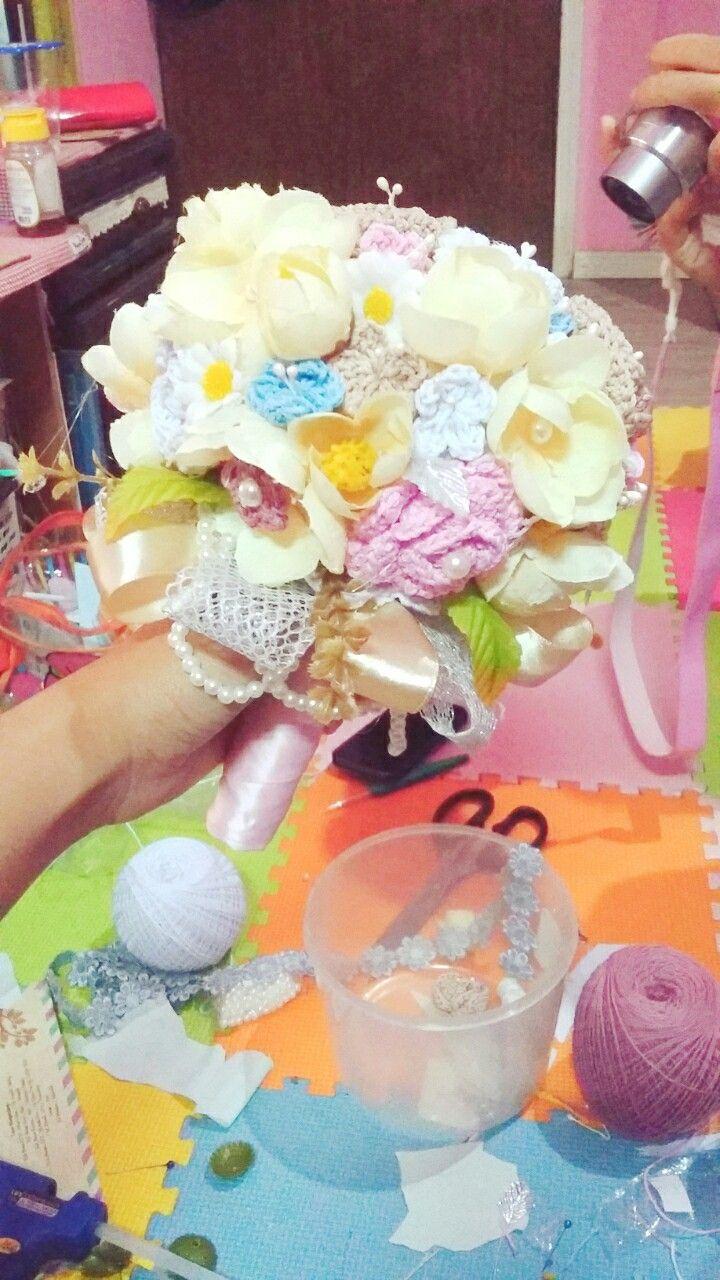 Crochet bridal bouquets