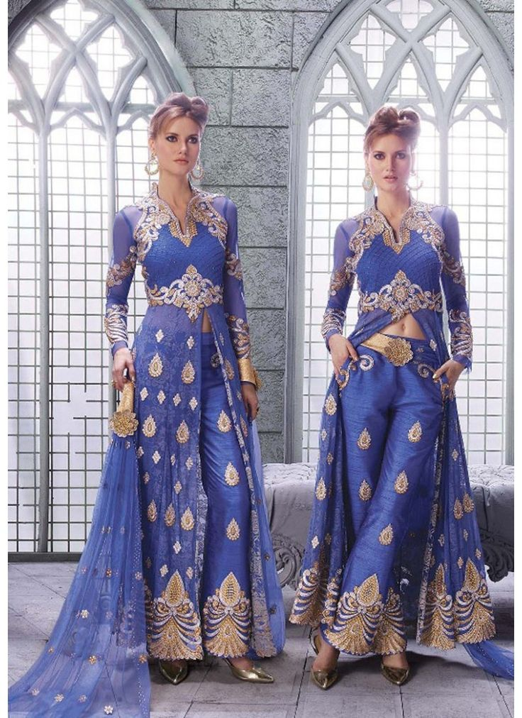 Couleur Bleu bhagalpuri silk de Concepteur Indien Anarkali Avec Pantalon Brodé