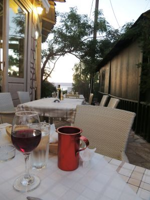 Enjoying a meal at Elpis - a hillside taverna in Western Crete.