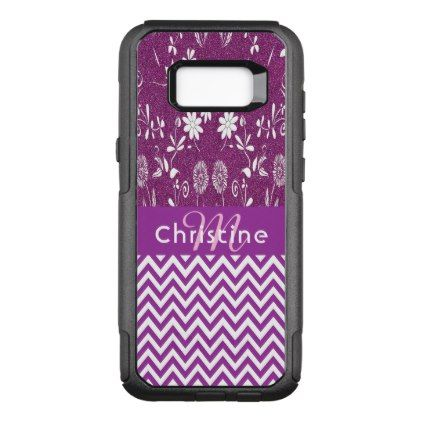 #monogrammed - #Purple chevron zigzag flowers and girly glitter OtterBox commuter samsung galaxy s8 case
