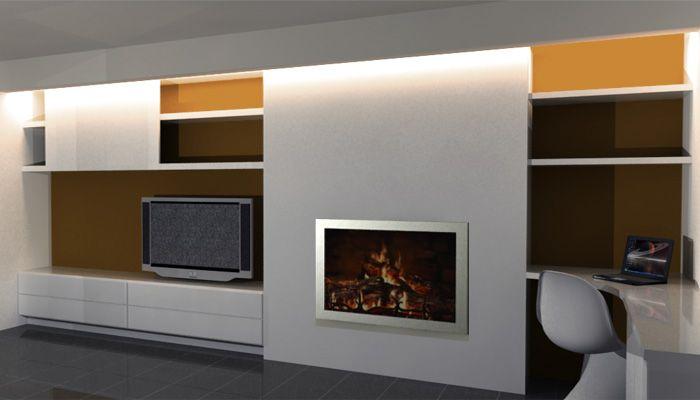 Haardvuur met tv meubel en bureau in de woonkamer for Tv meubel kleine ruimte