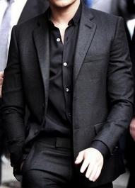men: Men S Style, All Black, Men S Fashion, Dress, Mens Fashion, Mensfashion, Black Suits, Shirt