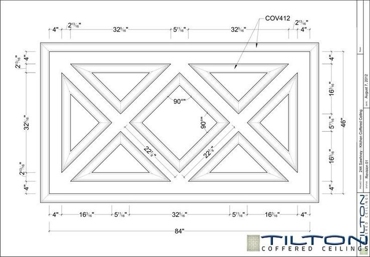 Coffered Ceiling Design Drawing - Diagonal 08