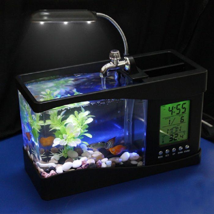 USB Desktop Aquarium   Includes: Aquarium, USB Power Connector, Low Voltage  Pump, Under Gravel Filtration System, And Decorative Rocks Holds