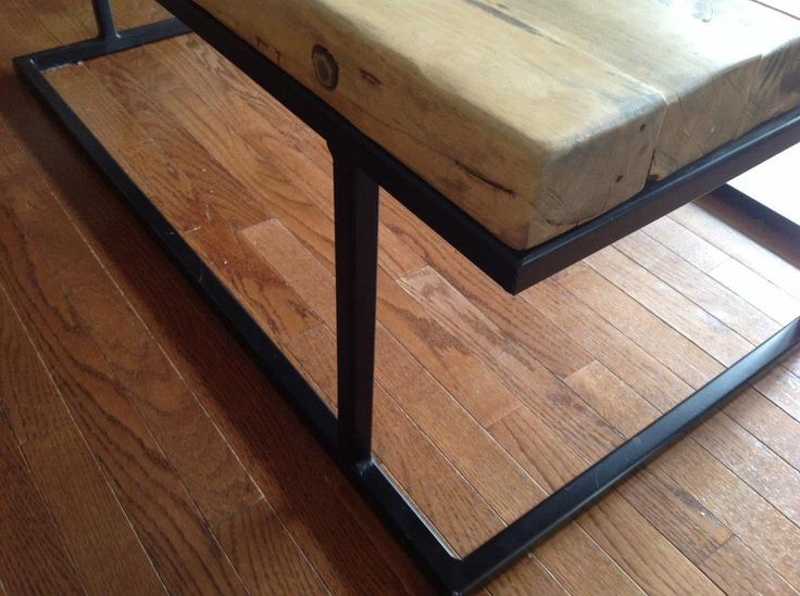 Cool design quirk on salvaged wood coffee table.