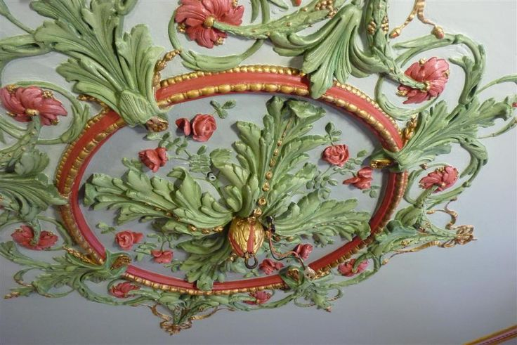 "Polychrome ceiling medallion, ""Veldman and Veltman"" restoration and decorative painting"