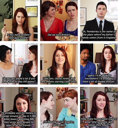 Lizzie Bennet Diaries references to Pride and Prejudice / England  Seriously, @Emily Nelson , I know you thought these things, too. :D