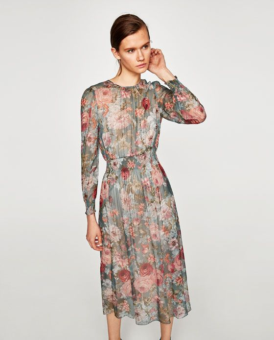 Image 2 of MIDI DRESS WITH SHIRRED WAIST from Zara