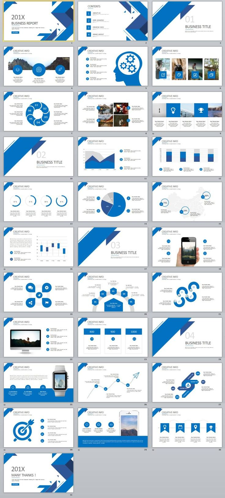 31+ Best blue business report PowerPoint template