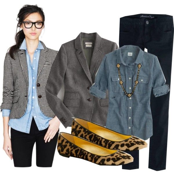 checked blazer, denim button up, black jeans, leopard flats