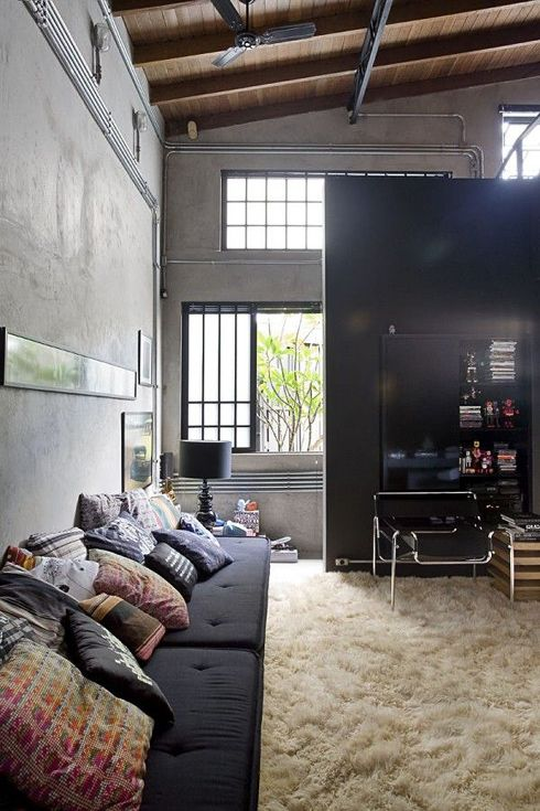 loft lust. big windows and open spaces.Decor, Spaces, Studios, Livingroom, Interiors Design, Living Room, Loft, High Ceilings, House