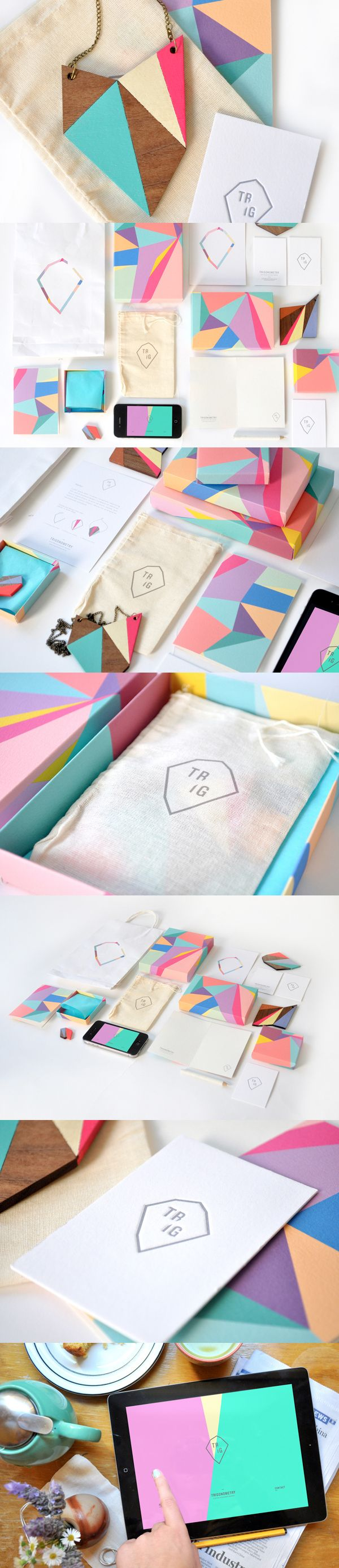 Colourful, geometric branding & packaging design for Trig app, which lets customers design their own personalized jewelry - by Sydney-based Olivia King https://www.behance.net/gallery/8511731/Trig