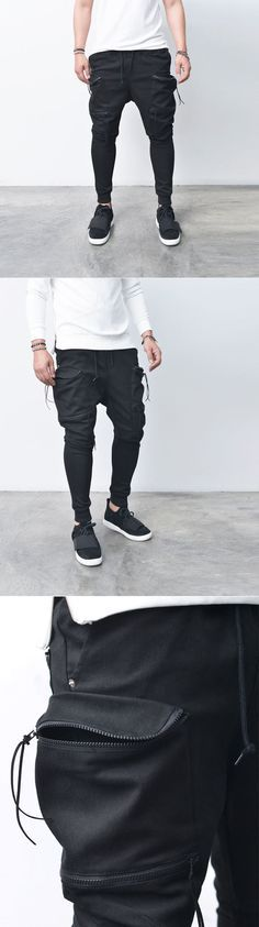 Bottoms :: Sweatpants :: Double Zip Big Cargo Baggy Jogger-Sweatpants 244 - Mens Fashion Clothing For An Attractive Guy Look