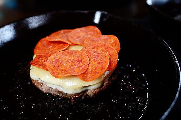 Pepperoni Pizza Burgers   Recipe