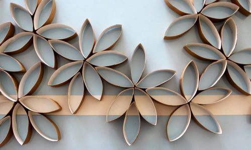 toilet paper tubes turned wall art