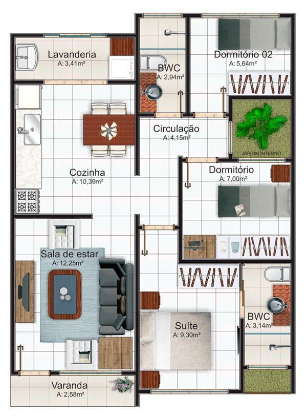 planos de casas pequenas de 6 x 12