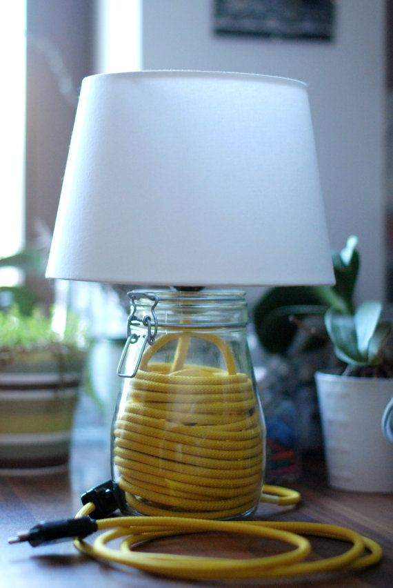 Preserving jar lamp with yellow textilcable