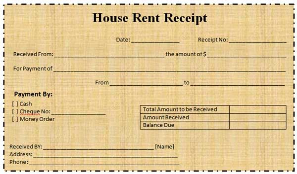 room rent receipt – Rent Receipt Format India