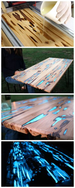 DIY Glow in the Dark Resin Table Tutorial by Mike Warren on Instructables. There is both a video and written tutorial. You may remember the glow in the dark resin shelves by Mat Brown, but when I looked at his tutorial he didn't remember what glow powder he used or the ratio of pigment to resin. From Mike Warren on his glow shelves: Photoluminescent (glow) powder mixed with clear casting resin fills the naturally formed voids in this Pecky Cypress hardwood, creating a unique and stunnin...