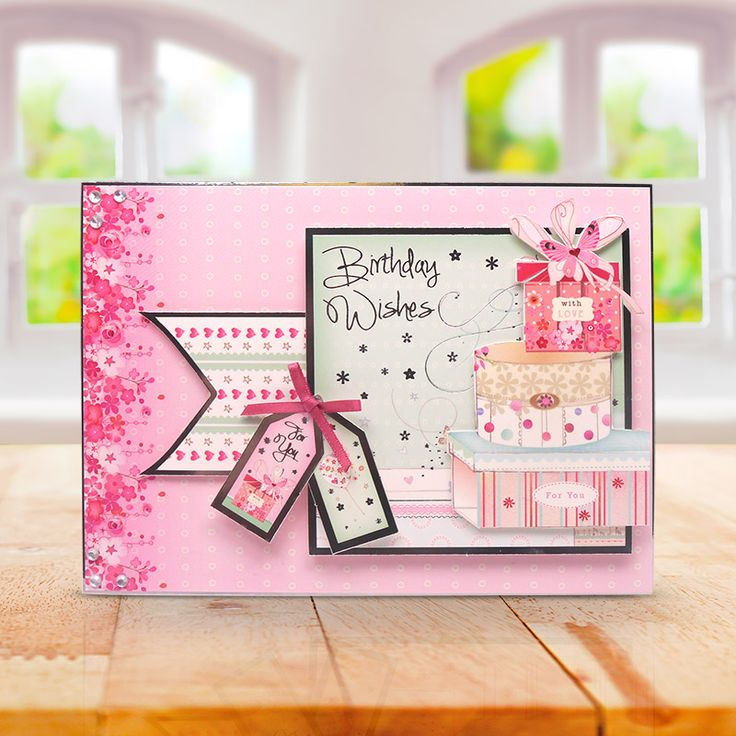 This card was made using the 'Birthday Treat' Sent with Love topper set from the Window to the Heart Collection from Hunkydory Crafts http://www.hunkydorycrafts.co.uk/papercraft/hunkydory-collections/window-to-the-heart-sent-with-love.html