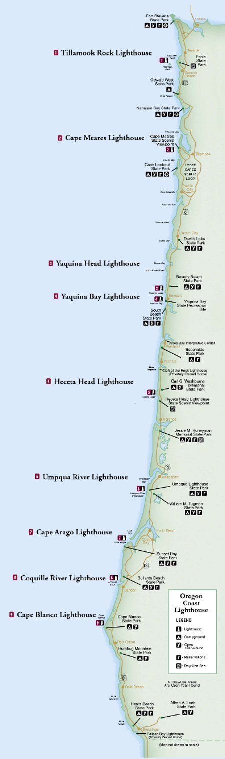 Oregon lighthouse map. There are eleven lighthouses standing strong along the Oregon coast. Many of these have been restored, and offer a look back into Oregon's past.