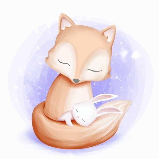 Rabbit Sleep On Fox Tail Fox Clipart Adorable Animal Png And Vector With Transparent Background For Free Download Baby Animal Drawings Cute Animal Drawings Baby Illustration