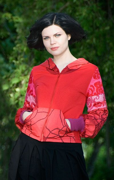 Red Hoodie mad from upcycled materials by yanay.
