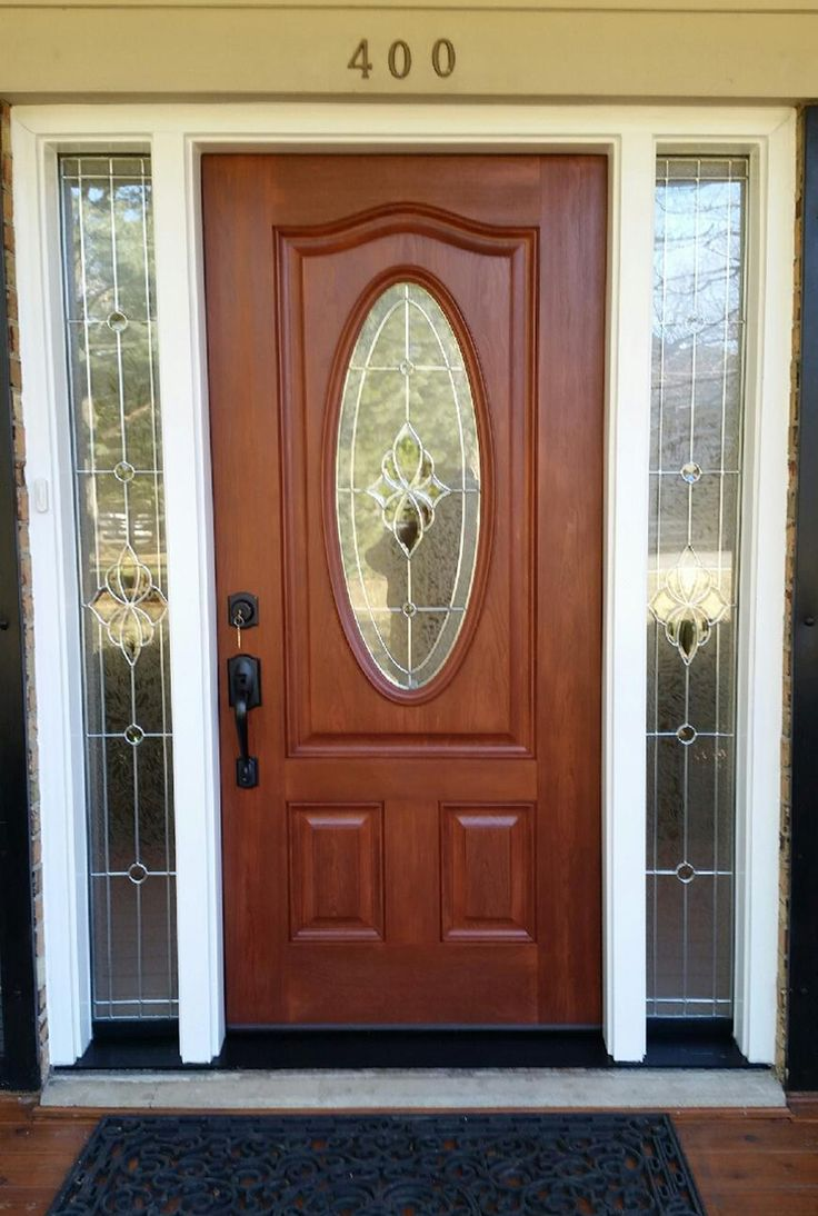 Provia Signet Fiberglass entry door with full lite sidelites and Solitaire decorative glass. & 29 best Nova Exteriors Door Projects images on Pinterest | Entry ... pezcame.com