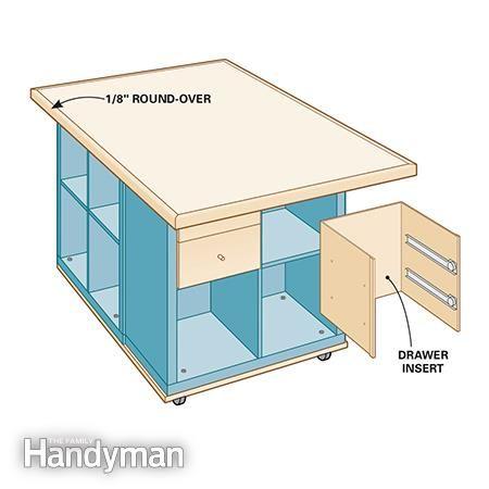 Round edges and install drawers - Ikea Kallax Hack: Craft Room Storage http://www.familyhandyman.com/woodworking/projects/ikea-kallax-hack-craft-room-storage/view-all