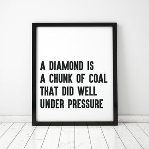 large diamonds typographic framed print
