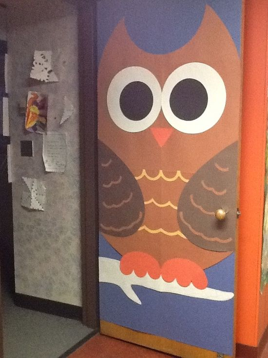 Giant owl classroom door decoration idea jpg 550x733