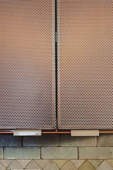 Murdock Young Architects -Further Lane Kitchen - Contemporary cabinet doors made from perforated metal screens with tile backsplash