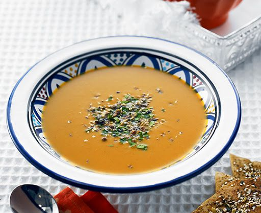 Moroccan Spiced Pumpkin Soup with Dukkah Crisps Recipe on Yummly. @yummly #recipe