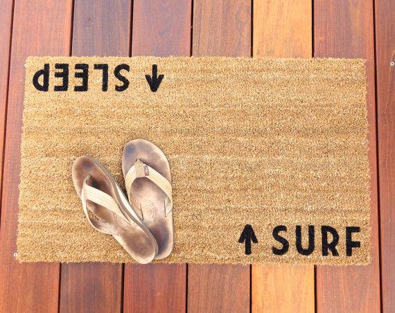 Surf/Sleep Door Mat doormat beach cottage decor by Dichotomat