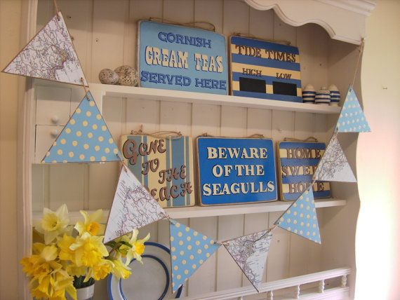 West Cornwall Map Bunting Wooden Bunting Made by ARMSTRONGandWING
