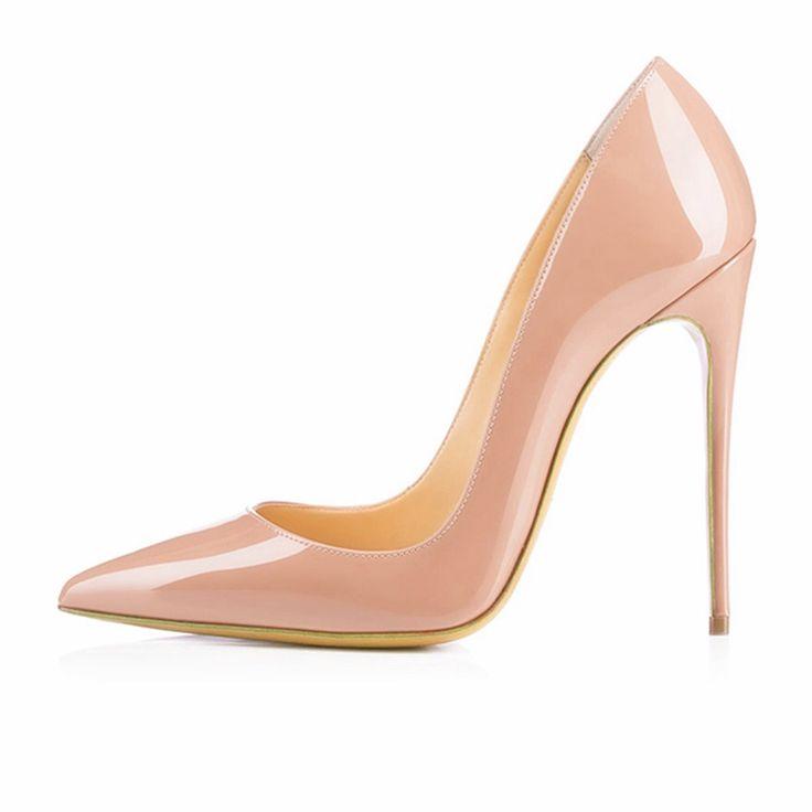 Марка Обуви Женщина Высокие Каблуки Насосы Красный Высокие Каблуки 12 СМ Женщин обувь Высокие Каблуки Свадебная Обувь Насосы Черные Обнаженные Обувь На Каблуках B-0043