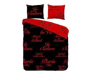 Housse de couette et 2 taies d'oreiller PARIS coton, rouge et noir - 220*240