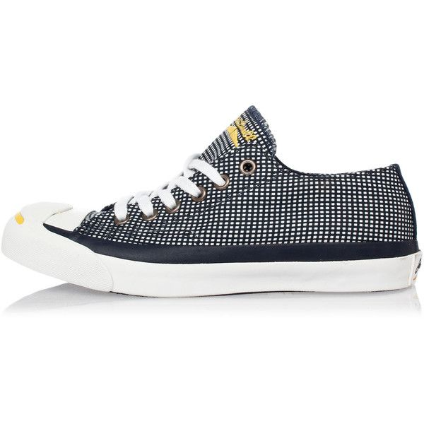 CONVERSE JACK PURCELL JP SPEC OX Canvas Sneakers ($32) ❤ liked on Polyvore featuring shoes, sneakers, blue, self tying shoes, self tying sneakers, rubber sole shoes, blue shoes and blue sneakers