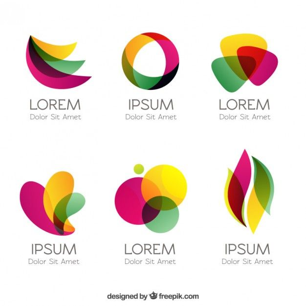 Logotipos coloridos em estilo abstrato