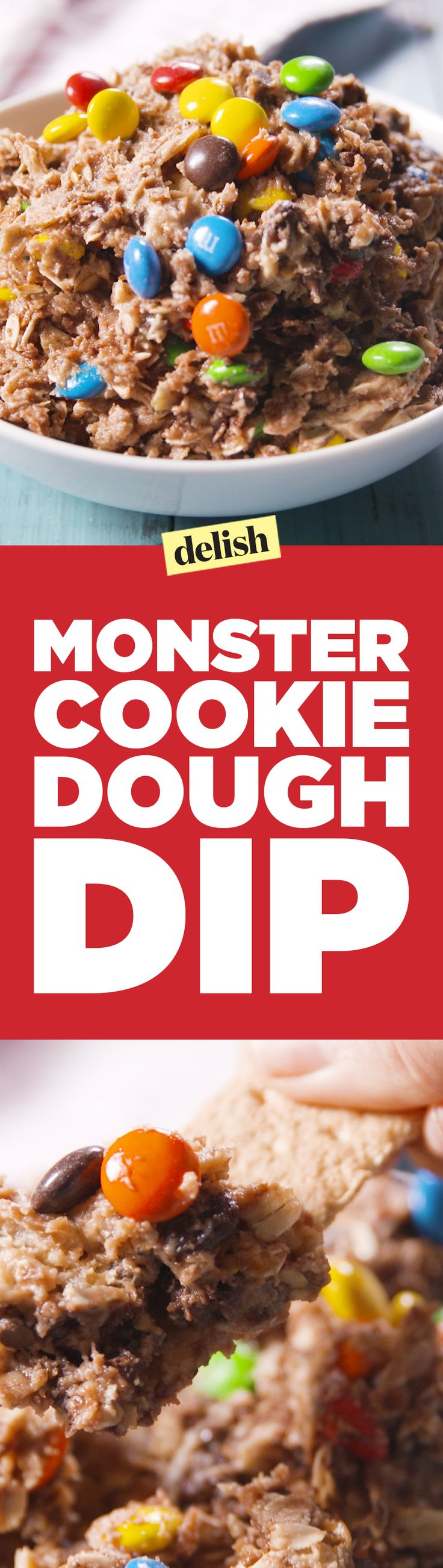 Monster cookie dough dip is scary good. Get the recipe on Delish.com.