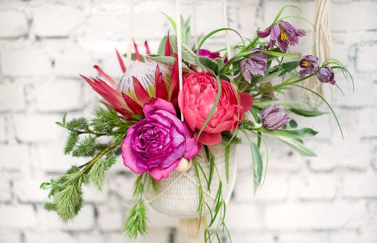 Mariage Ethnique Moderne - Design Dessine-moi une etoile - Fleurs Aude Rose - Photo Annaimages - Suspension