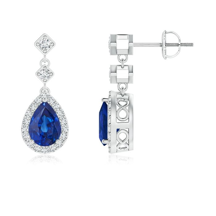 Exude Elegance With These Diamond Halo Pear Blue Sapphire Teardrop Earrings By Angara Explore Our Blue Sapp Diamond Earrings Studs Small Diamond Rings Diamond