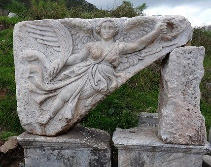 Winged Victory Goddess Nike -  Carving at ancient city of Ephesus, Turkey