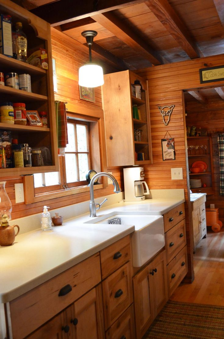 Sink and cabinets cabin interiors pinterest for Rustic galley kitchen ideas