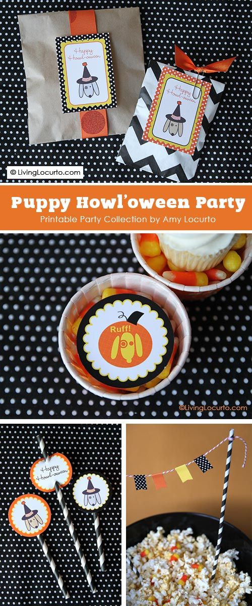 Calling all dog-lovers! Throw a cute Howl'oween party with this printable party collection by Living Locurto.