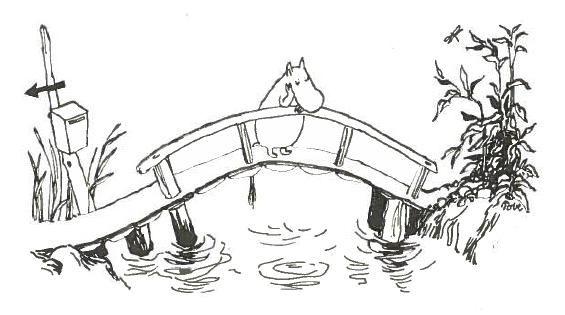 """""""Samana aamuna, jolloin Muumipeikon isä sai joen yli vievän sillan valmiiksi, keksi pikku otus Nipsu erään kummallisen asian."""" Muumipeikko ja pyrstötähti"""