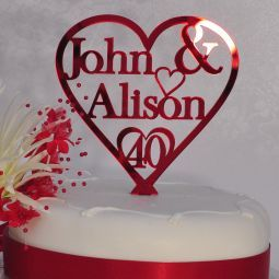 Personalised Names - Heart Cake Topper - 40th Ruby Wedding Anniversary